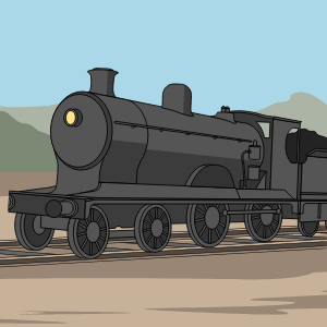 A locomotive is parked on tracks. Behind it is the desert and a faint mountain range.