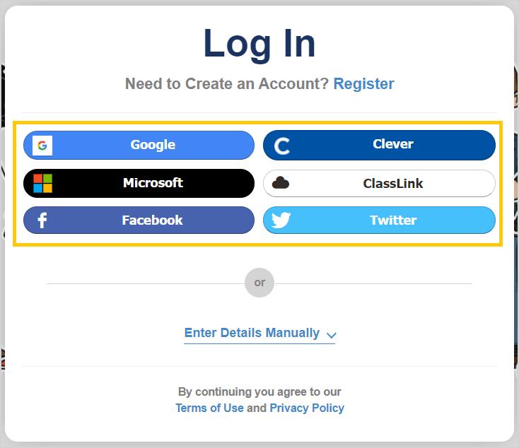 Log in screenshot
