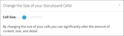 how to change Cell Size in storyboard software