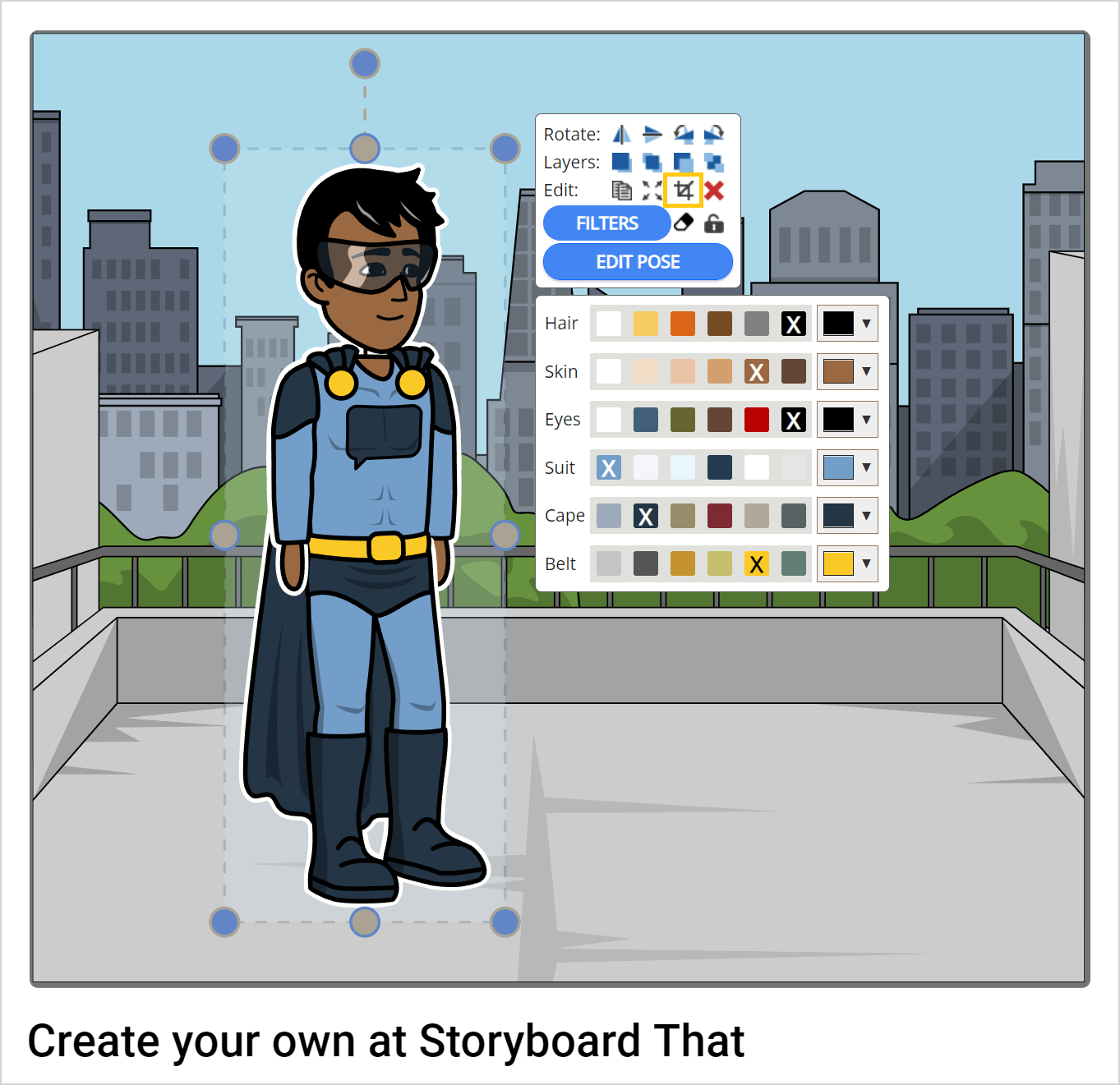 How to crop in storyboard software creator step 1