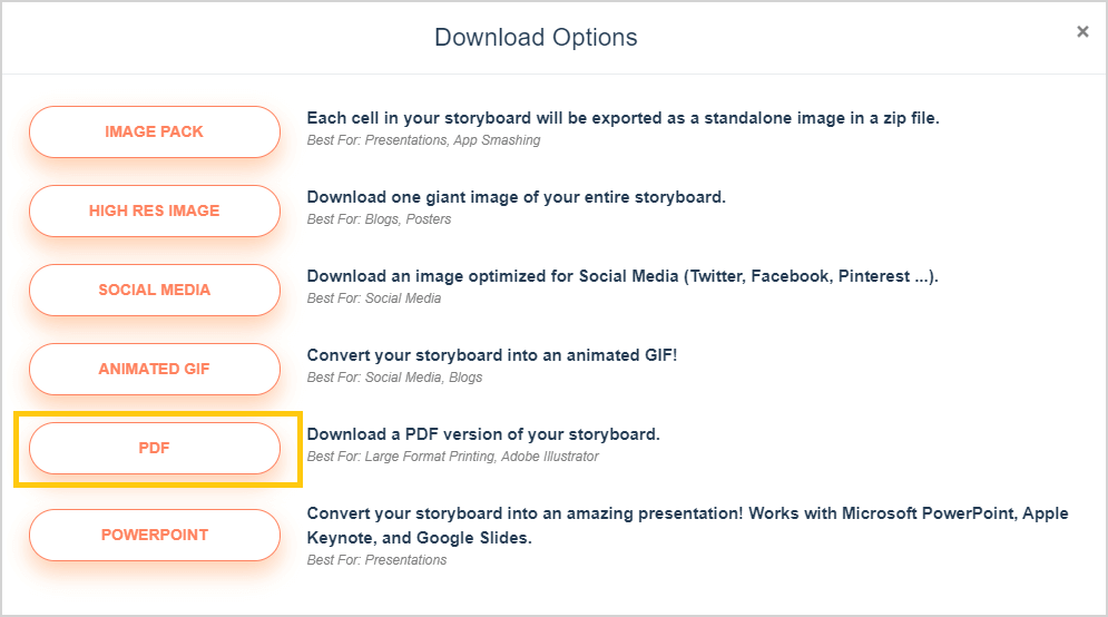 Lae Storyboard Options - PDF Option Circled