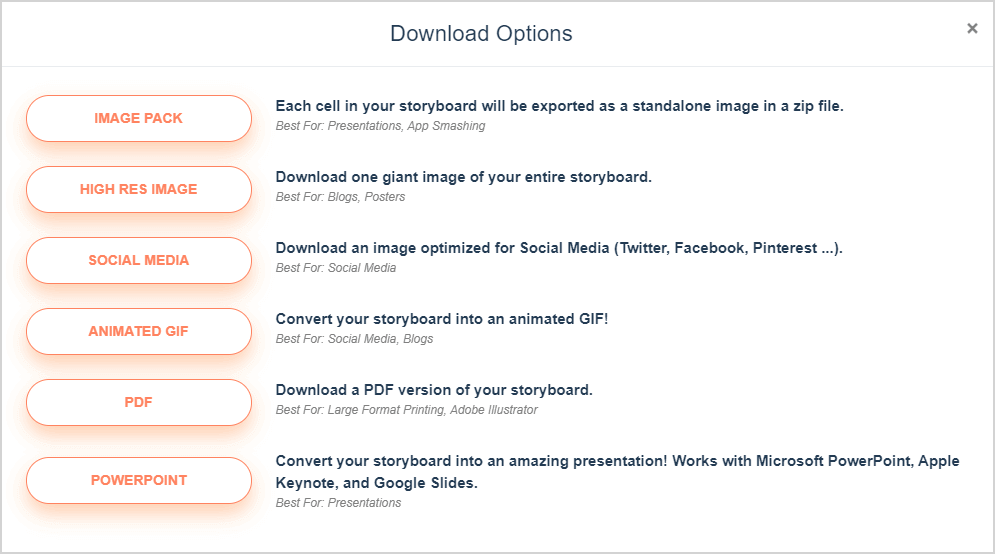 Storyboard Download și Export Options