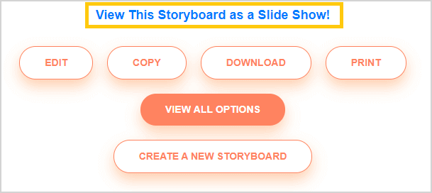 Present a storyboard in a slideshow in storyboard software
