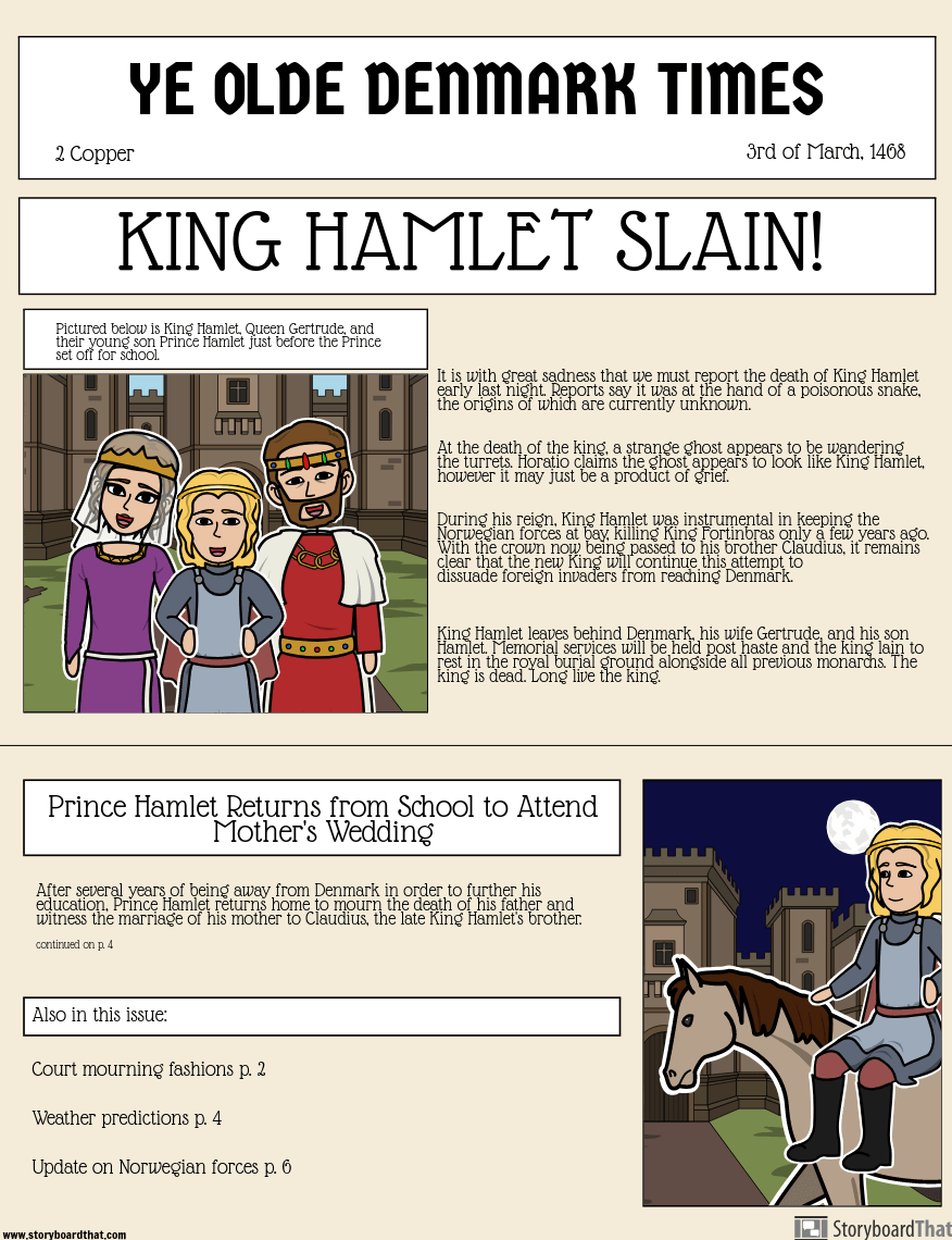 Hamlet av William Shakespeare - Shakespearean Newspaper Announcement: <i>Hamlet</i>