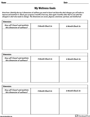 Areas of Wellness Worksheet Activity
