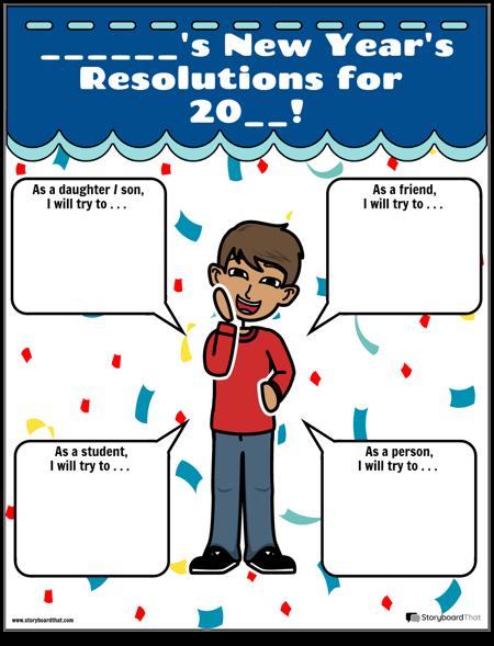 Шаблон, Новогодишни Резолюции, Синьо