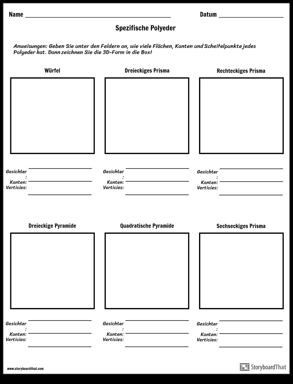 Geometrische Formen Zeichnen   Arbeitsblatt für Bestimmte Polyeder