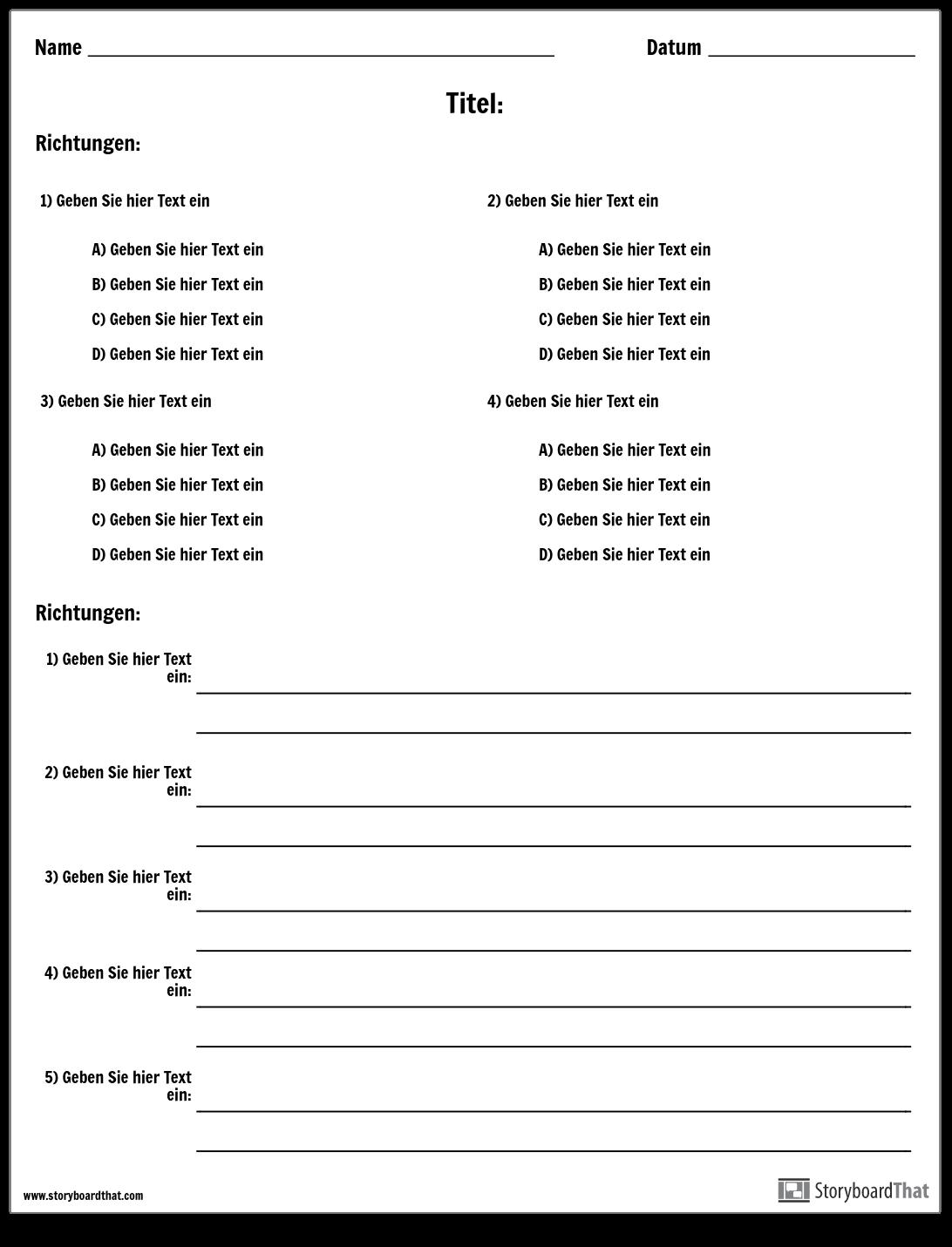 Machen Sie Einen Test Oder Ein Quiz Test Und Quizvorlagen