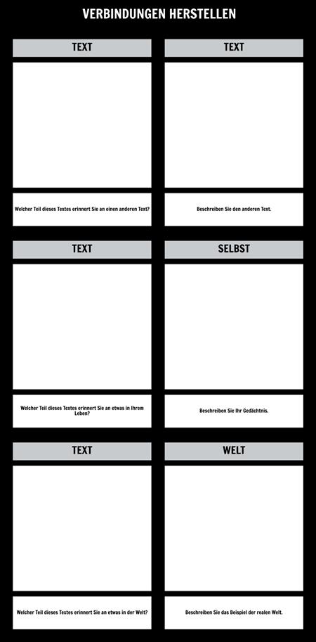 Textverbindungen T-Chart-Vorlage
