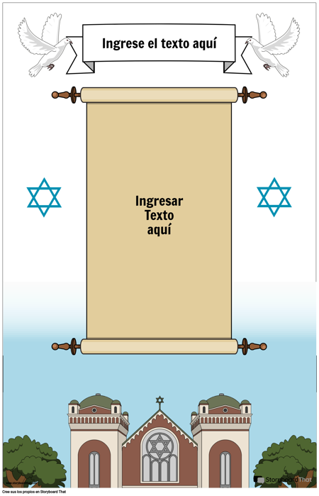 Cartel judío con pergamino