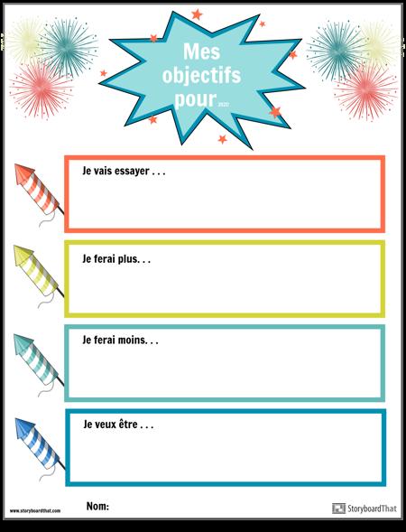 Modèle, Objectifs du Nouvel an, Feux D'artifice