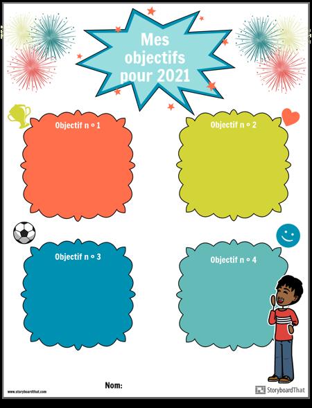 Modèle, objectifs du nouvel an, simple