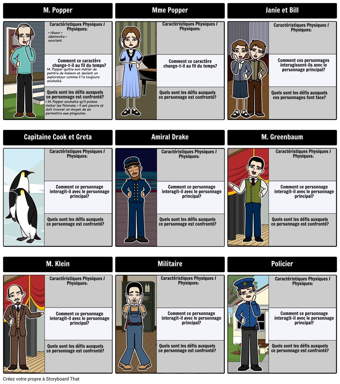 Mr. Popper's Penguins - Carte de Personnage