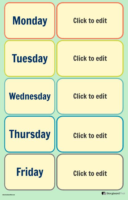 Plakat Kalendara Školskog Tjedna 1