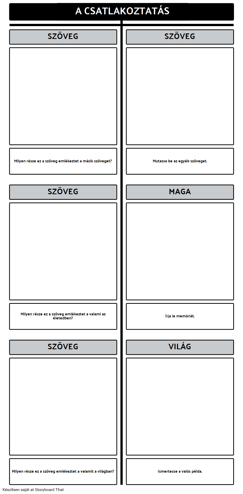 Szöveg Connections T-Chart Template