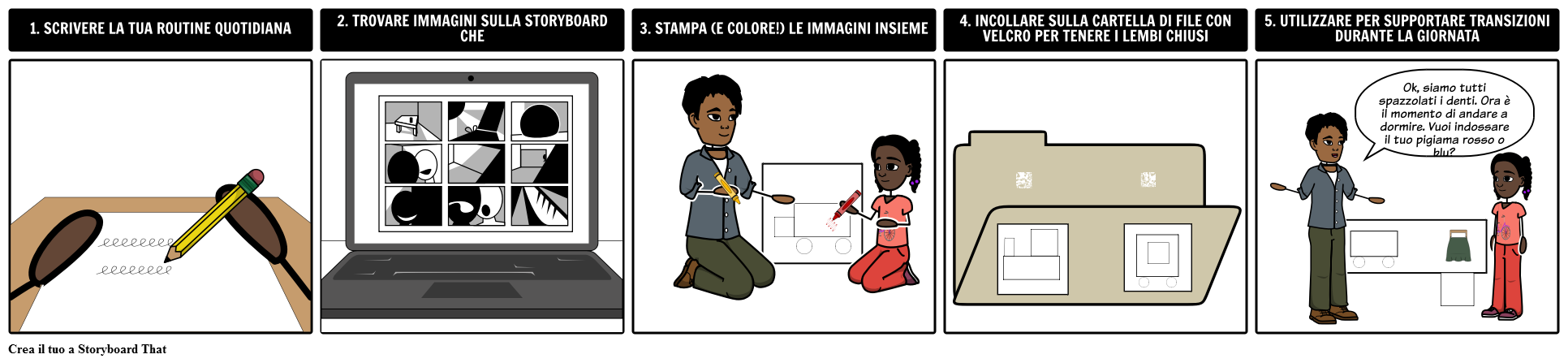 Come Fare una Tabella di Routine su Storyboard That
