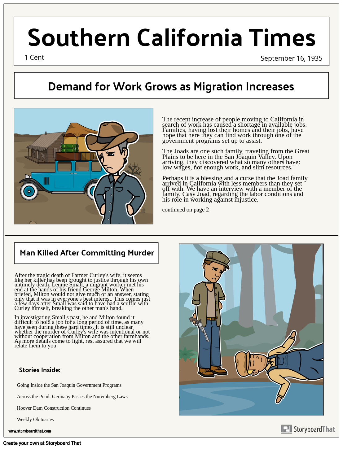 Dust Bowl Newspaper Project