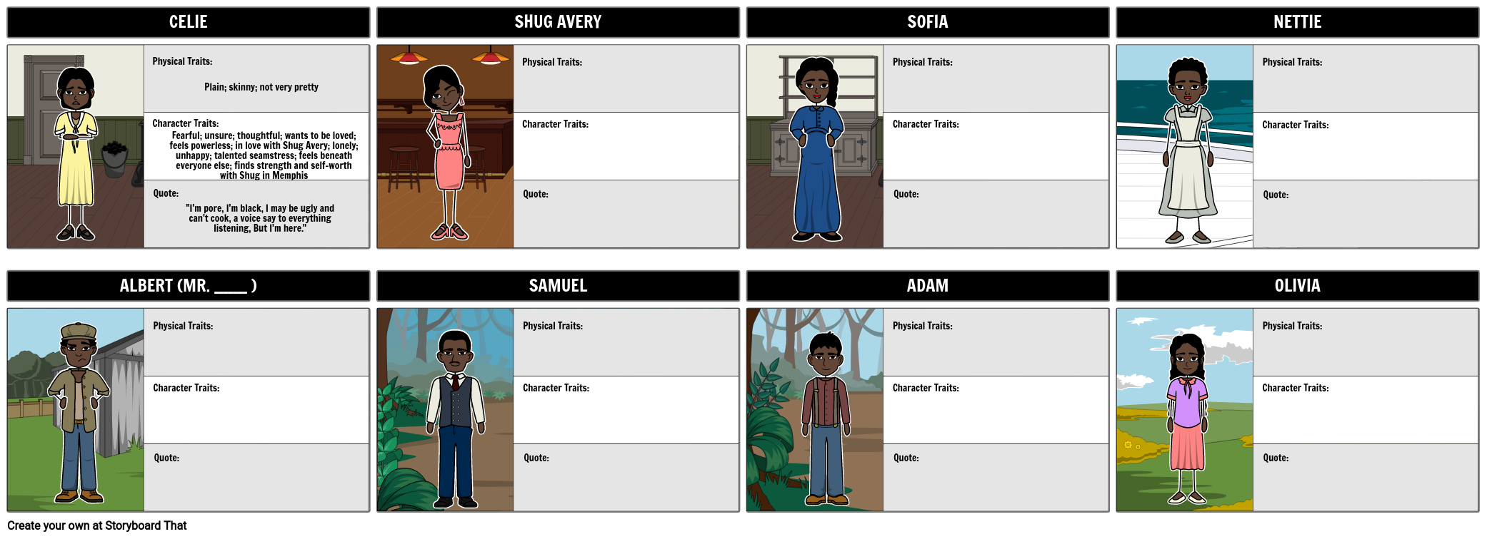 The Color Purple Character Map
