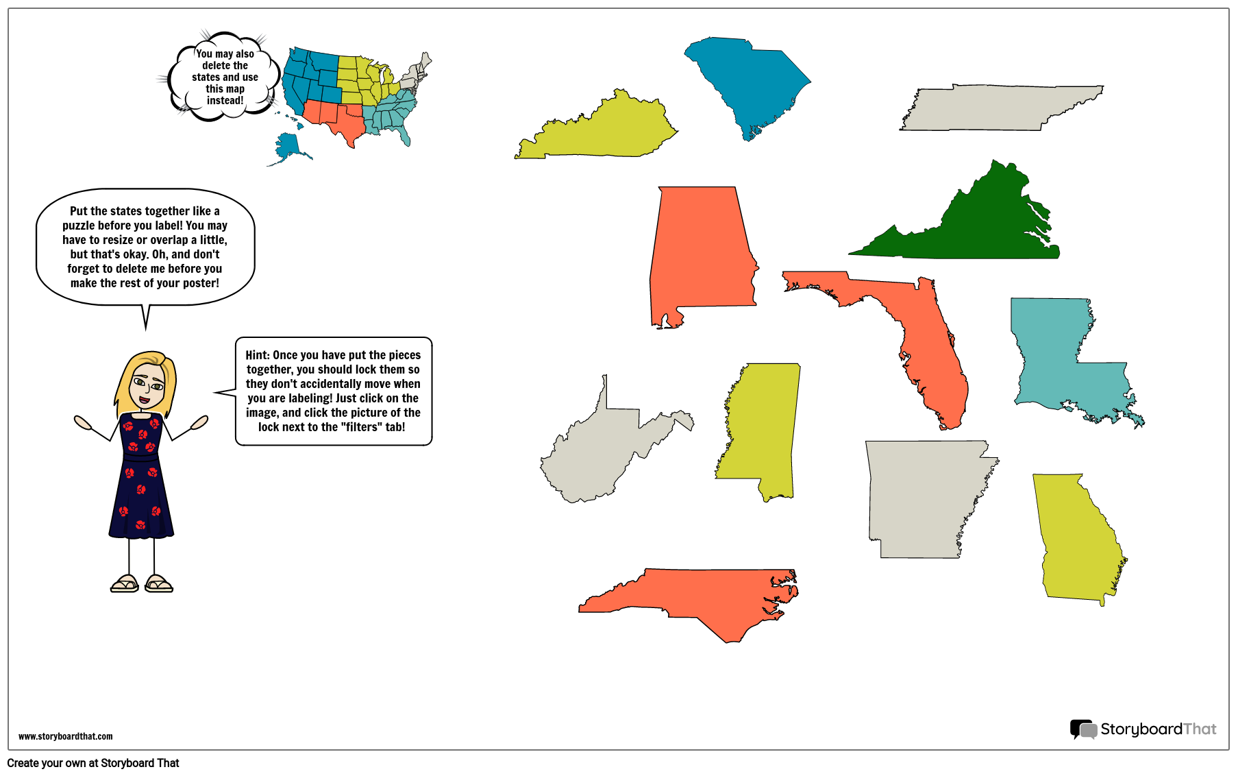 Individual Southeast States Map Template