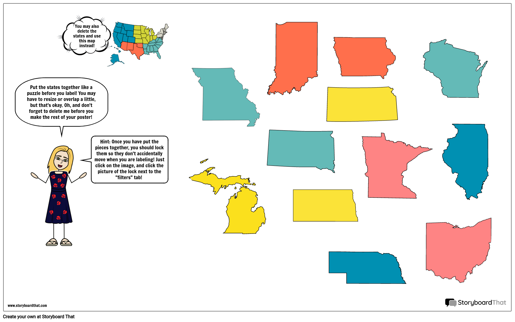 Midwest Map Template