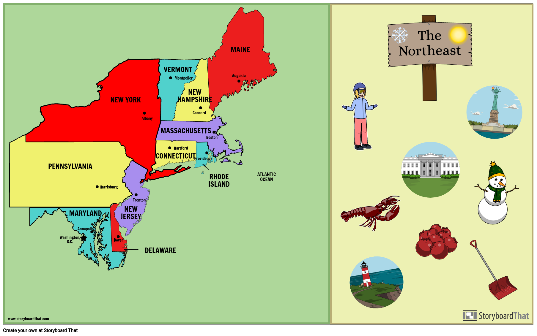 Northeast States and Capitals