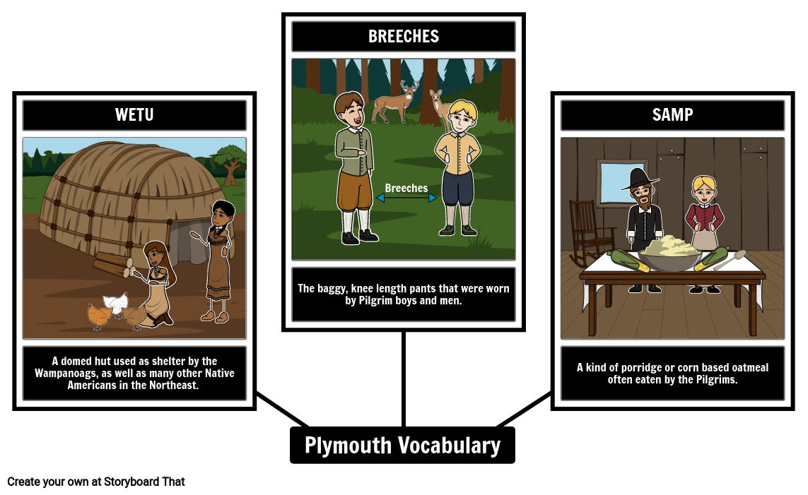 Pilgrims/Plymouth Vocabulary
