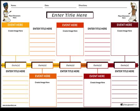 Sociale Studies Tijdlijn Werkblad Vierkanten Kleur
