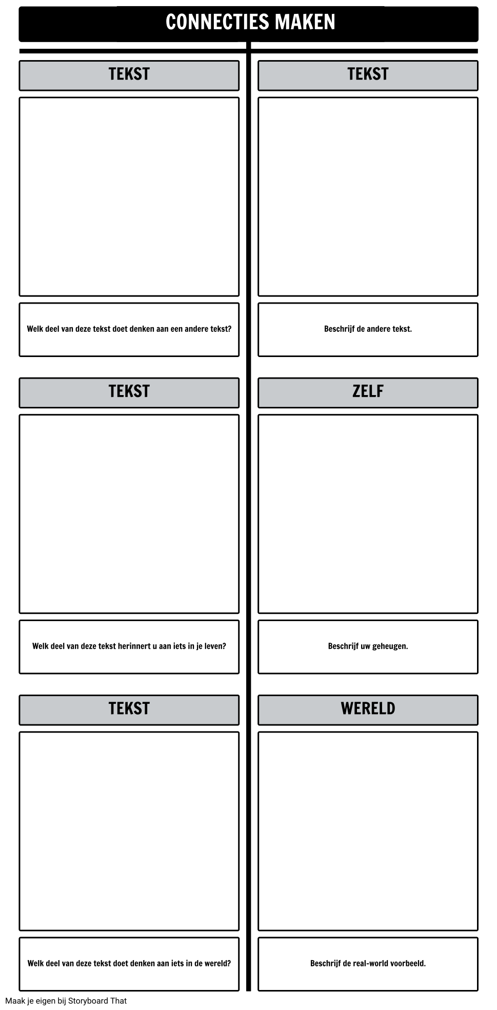 Tekst Connections T-Chart Template