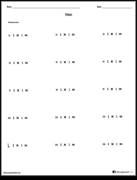 Multiplikasjon - Enkelt Tall - Versjon 1