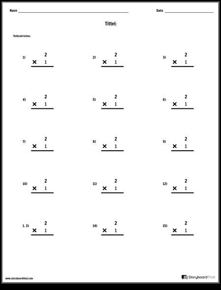 Multiplikasjon - Enkeltnummer - Versjon 2