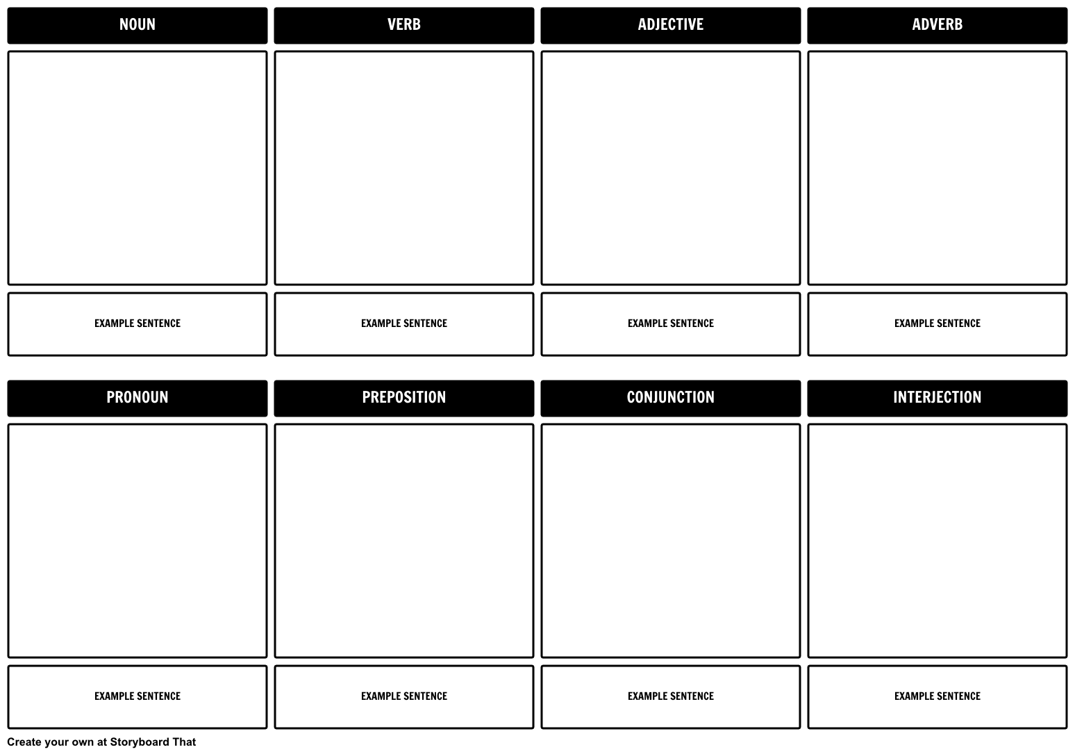 Parts of Speech Storyboard Template