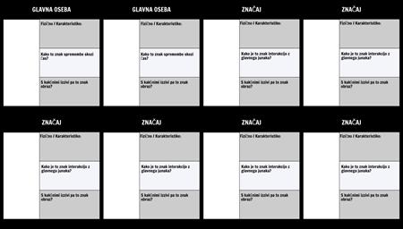 Tabela Znakov Predloga 3 Polja Izpolniti