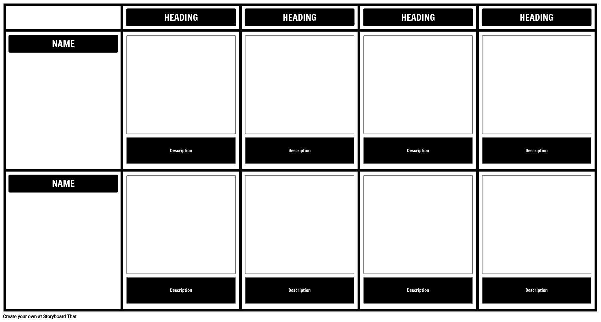 Grid Comparison with 4 Headings