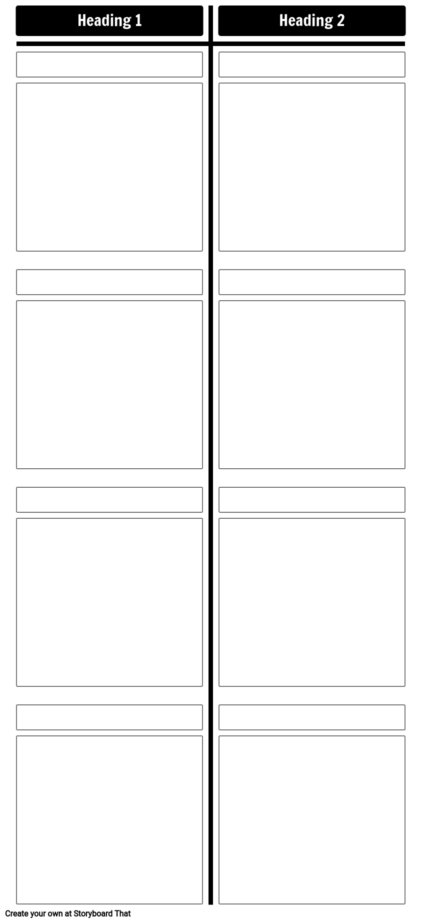 T Chart Template - 4 Rows