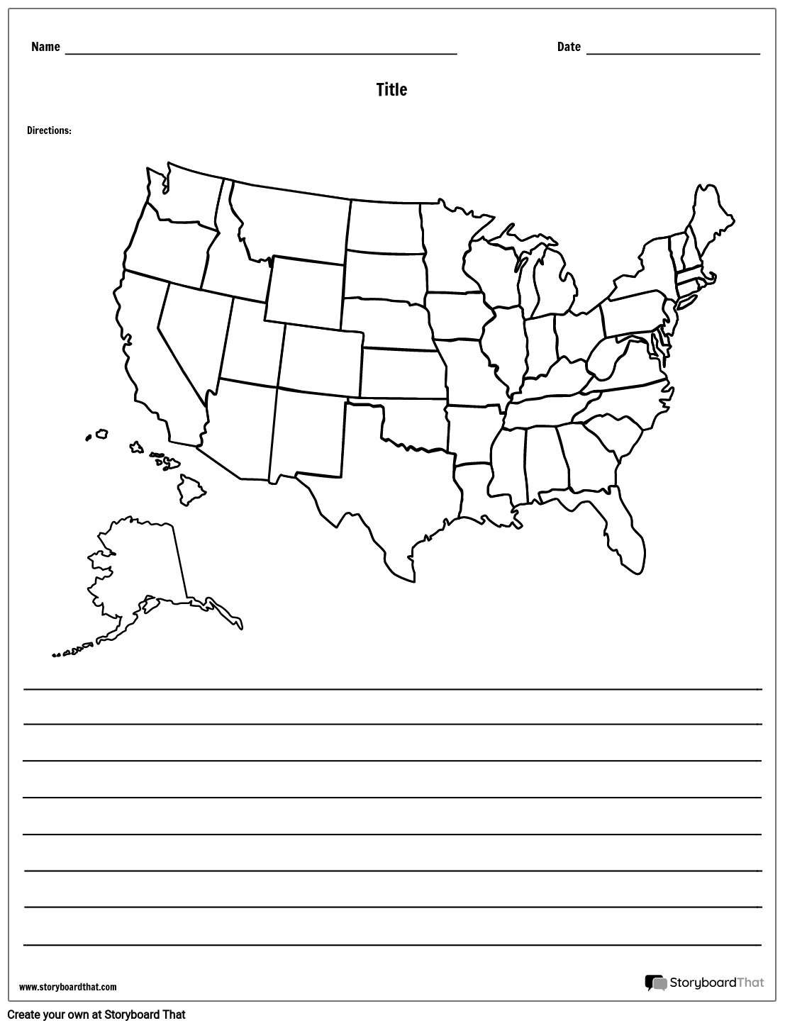 United States Map - With Lines